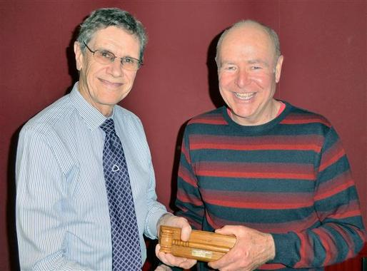 Peter Minshall receiving Best Topic Trophy from David Hopkins